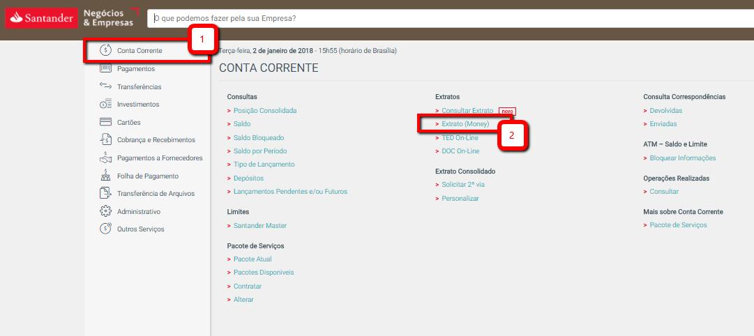 Exportação Extrato OFX Santander